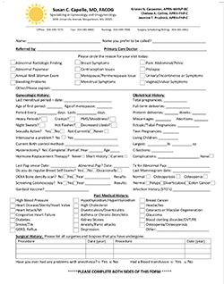 Susan C. Capelle - New Patient History Form